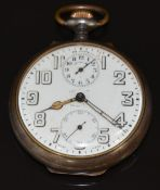 Zenith keyless winding open faced pocket watch with alarm, cathedral hands, Arabic numerals, inset