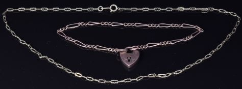 A 9ct rose gold bracelet and a 9ct gold choker necklace, 4.5g, length 35cm