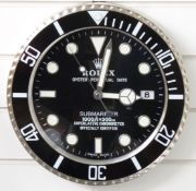 Rolex Oyster Perpetual Date Submariner dealer's shop display or advertising wall clock with date