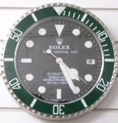 Rolex Oyster Perpetual Date Submariner shop display or advertising wall clock with date aperture,