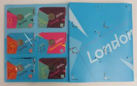 2012 London Olympic Games 50p collector's album with set of 29 coins and completion medallion