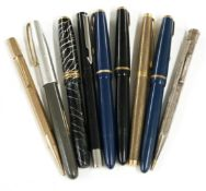 Nine various fountain pens and propelling pencils including The Conway Stewart 58 , Parker