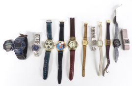 Twelve various ladies and gentleman's wristwatches including Tissot, Citizen automatic 28800,