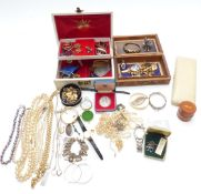 A collection of jewellery including pearl necklace, silver items including charm bracelet, necklace,
