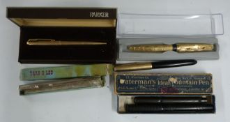 Four fountain pens comprising Waterman Ideal in original box, Onoto and two Parker examples, one