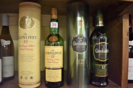 Two 70cl bottles of single malt whisky, comprising: Glenfiddich 12 year old, in metal tube; and