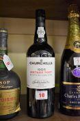 A 75cl bottle of Churchill's 1995 vintage port, Quinta da Agua Alta.