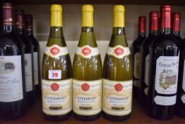 Three 75cl bottles of Condrieu, 1991, Etienne Guigal. (3)