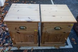 A pair of modern pine bedside cabinets, 43cm wide. This lot can only be collected on Saturday 19th