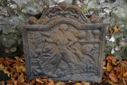 An interesting antique cast iron fireback, inscribed 'Richard Lenard Founder at Bred Fournis, 1636',