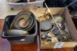 A quantity of old pendulums and clock bells. This lot can only be collected on Saturday 19th