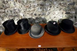 Five old hats, to include examples by Christys; Lock & Co (3); and Herbert Johnson, with boxes. This
