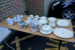 A Royal Doulton 'Albany' pattern part tea and dinner service; together with six Royal Worcester