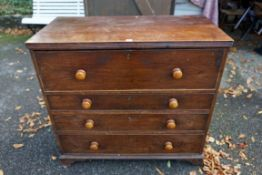 An antique oak chest of four drawers, converted from a secretaire, 101cm high x 98cm wide x 53cm