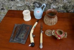 A small mixed lot, to include a bone and silver handled carving fork. This lot can only be collected