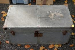 A German metal bound canvas covered travelling trunk, painted 'Dr G Freidrich', by D.R.G.M., 76cm