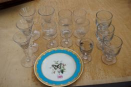 A quantity of modern drinking glasses together with a Minton plate. This lot can only be collected