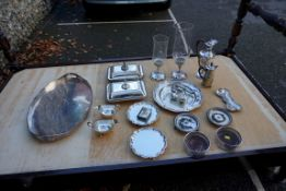 (THH) Two silver plated storm lamps; together with a quantity of other silver plated items. This lot