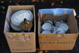 Two cartons of assorted ceramics to include 'Luneville' teawares. This lot can only be collected