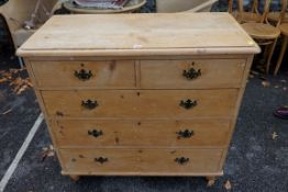A Victorian stripped pine chest of drawers, 100cm wide x 94.5cm high x 46cm deep. This lot can