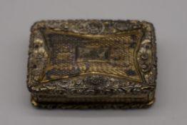 A George IV silver gilt vinaigrette, by John Bettridge,Birmingham 1830, 40 x 27mm, 27.5g.
