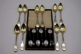 A cased set of six silver and enamel coffee bean spoons, by Turner & Simpson, Birmingham 1948;