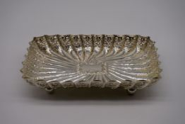 A Victorian silver fluted rectangular dish, by Fenton Brothers Ltd,Sheffield 1898, 23 x 15cm, 369g.