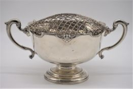 A silver twin handled pedestal rose bowl,byElkington & Co Ltd,Birmingham 1964, width including