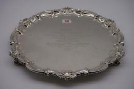 A Victorian silver salver, byThomas Bradbury & Son, London 1894, 37.5cm diameter, 1301g.