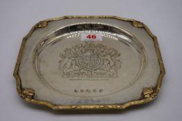 A silver Queen Elizabeth II Silver Jubilee salver, by Charles S Green & Co Ltd, Birmingham 1977,