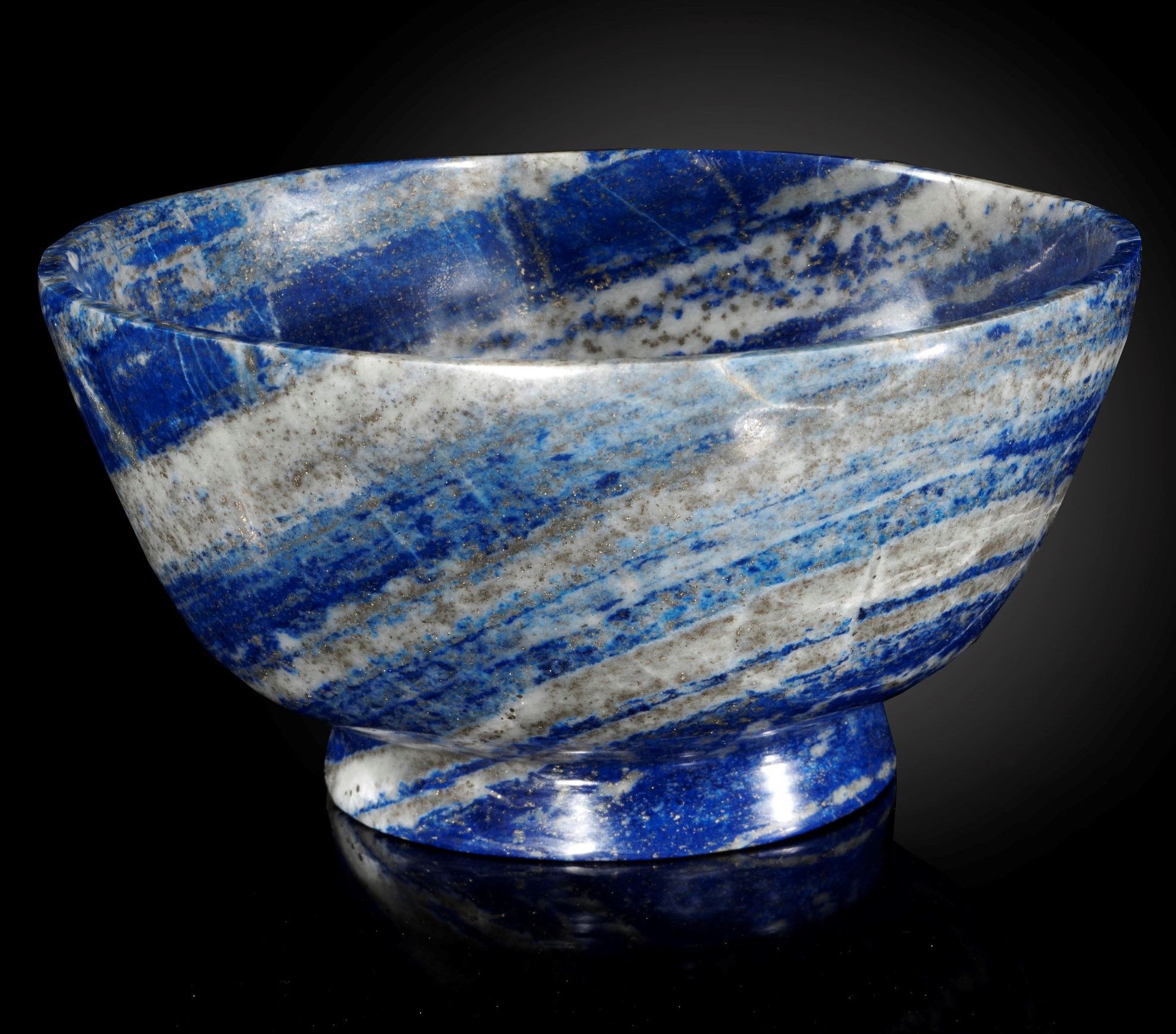 Lot 21 - Interior Design/Minerals: A Lapis lazuli bowl, in presentation box, 16cm diameter, 880 grams