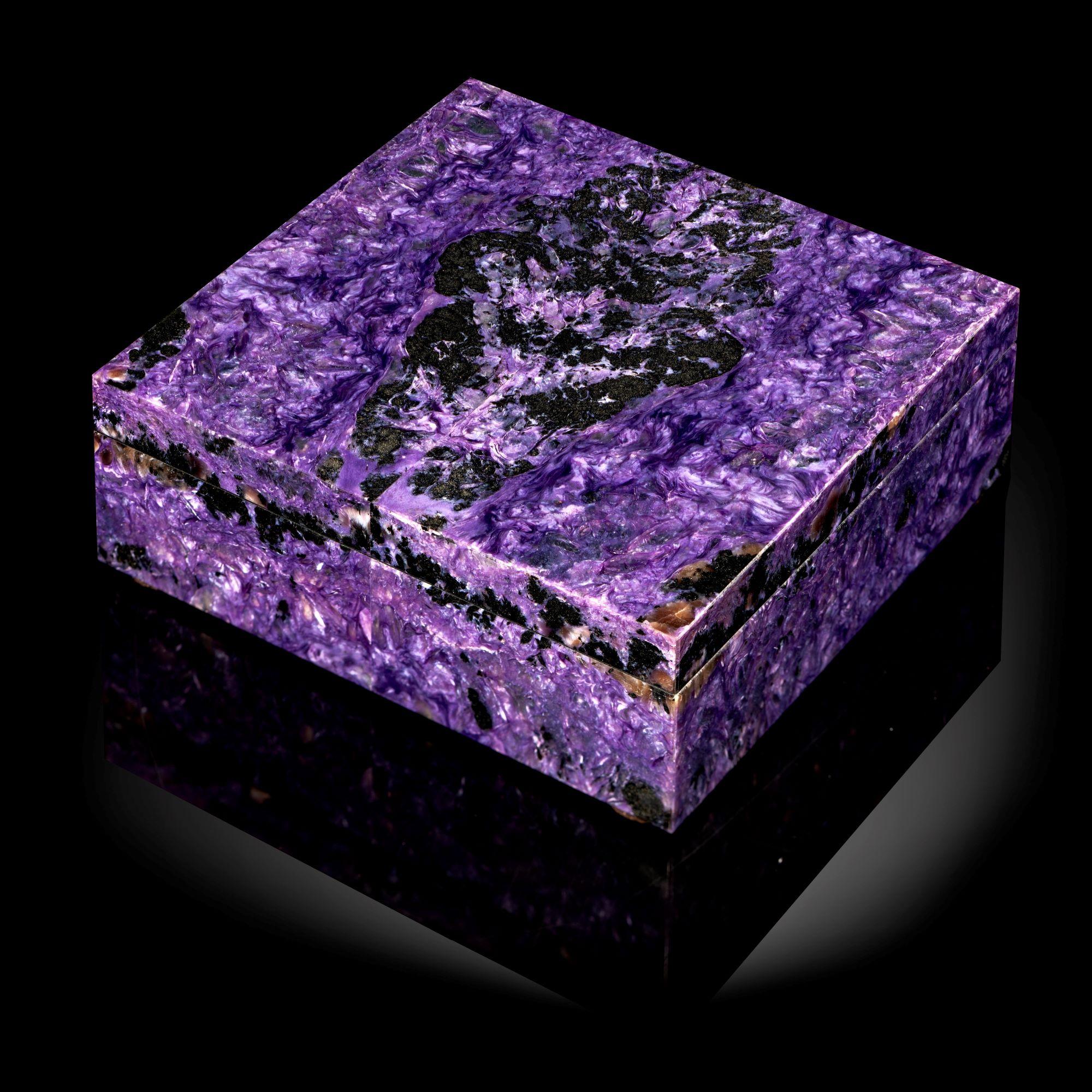 Lot 13 - Interior Design/Minerals: A charoite veneered marble box, 14.5cm square