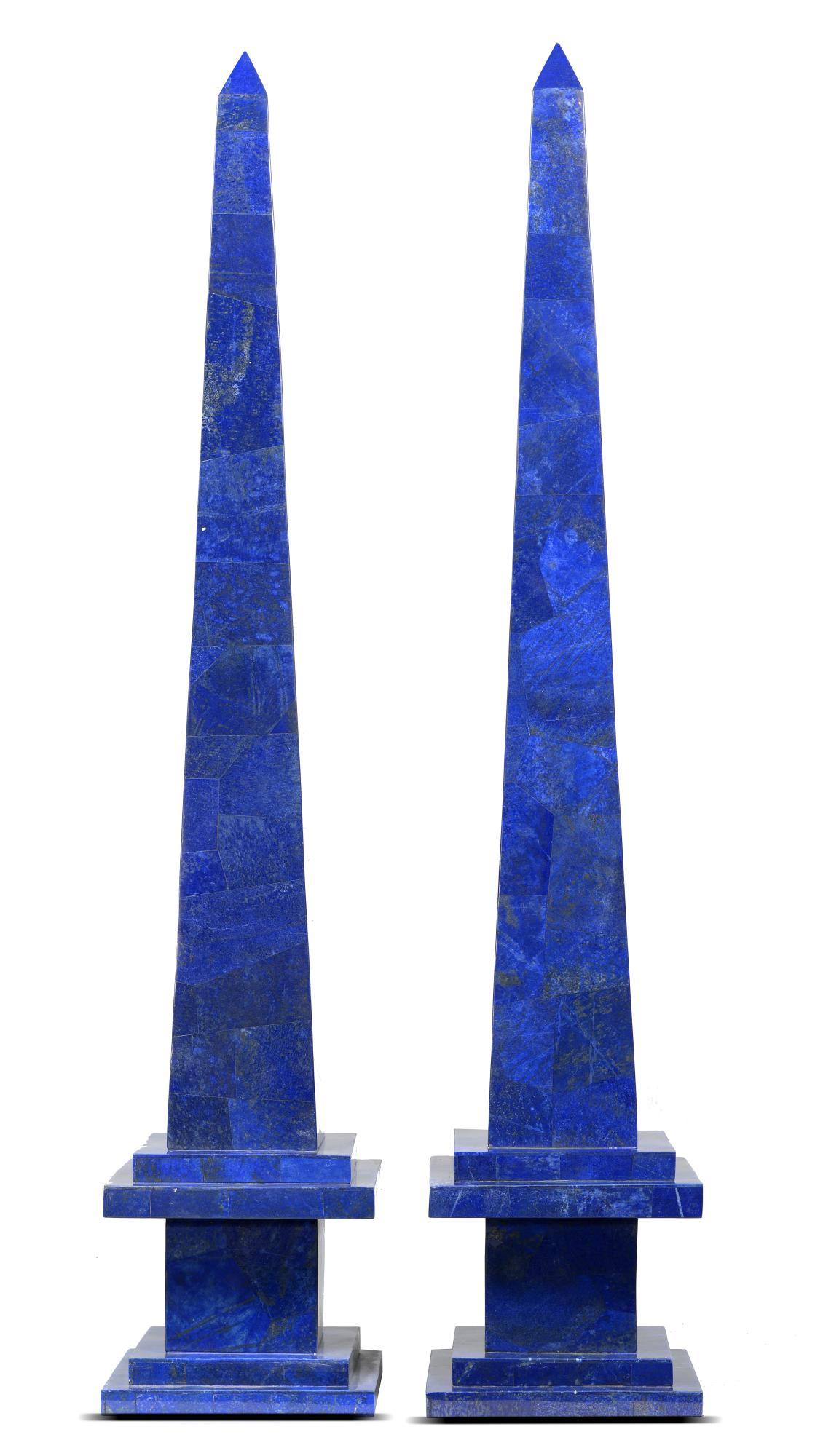 Lot 3 - Interior Design/Minerals: A pair of massive lapis lazuli veneered obelisks, Afghanistan, 131cm high
