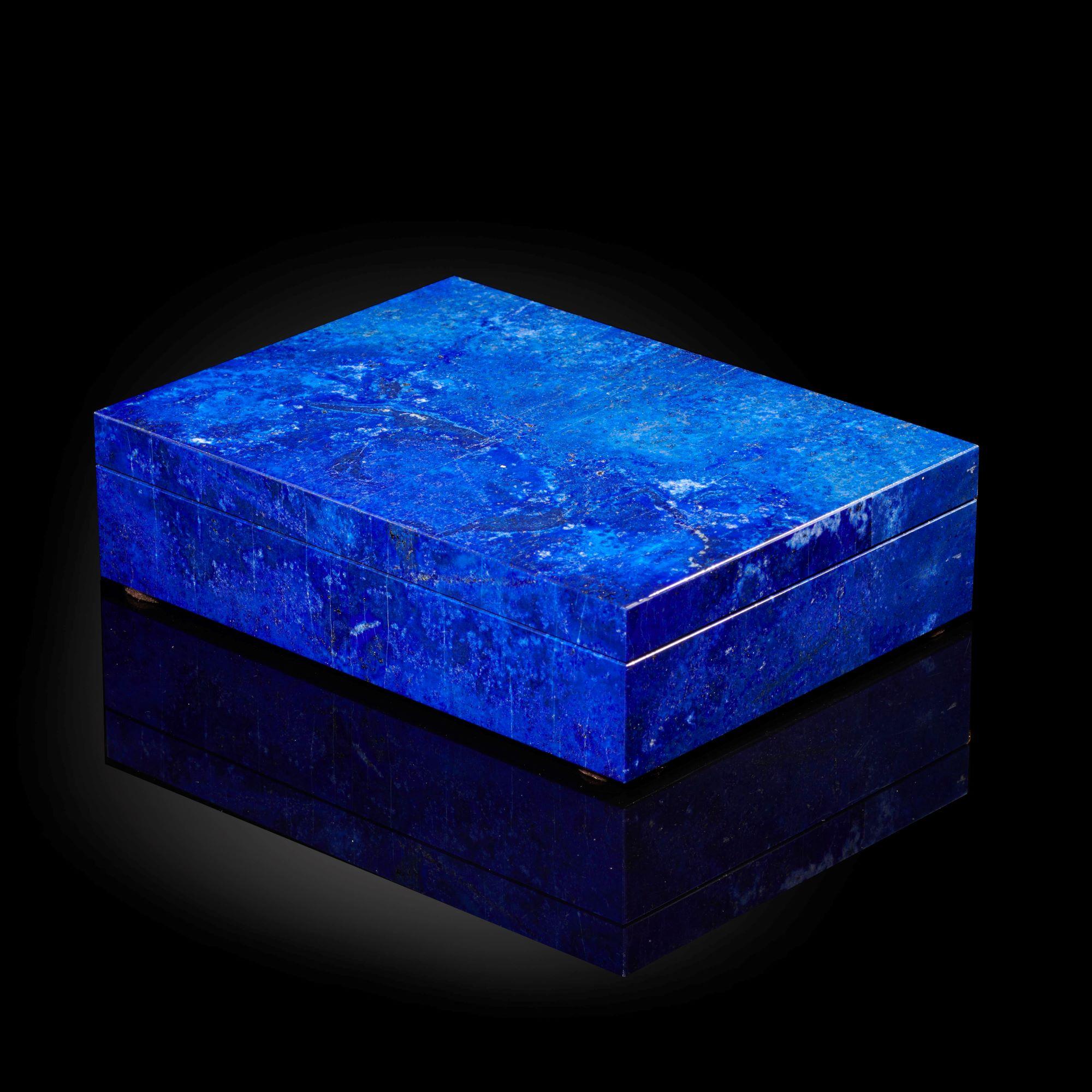 Lot 10 - Interior Design/Minerals: A lapis lazuli veneered box, 4cm high by 15cm wide by 11cm deep