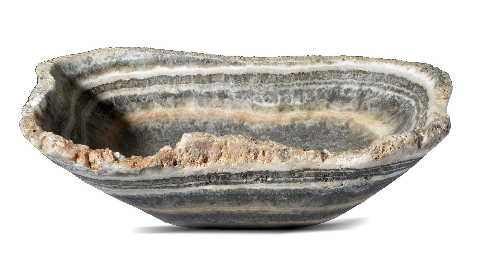 Lot 2 - Interior Design/Minerals: Two banded onyx bowls, the largest 30cm