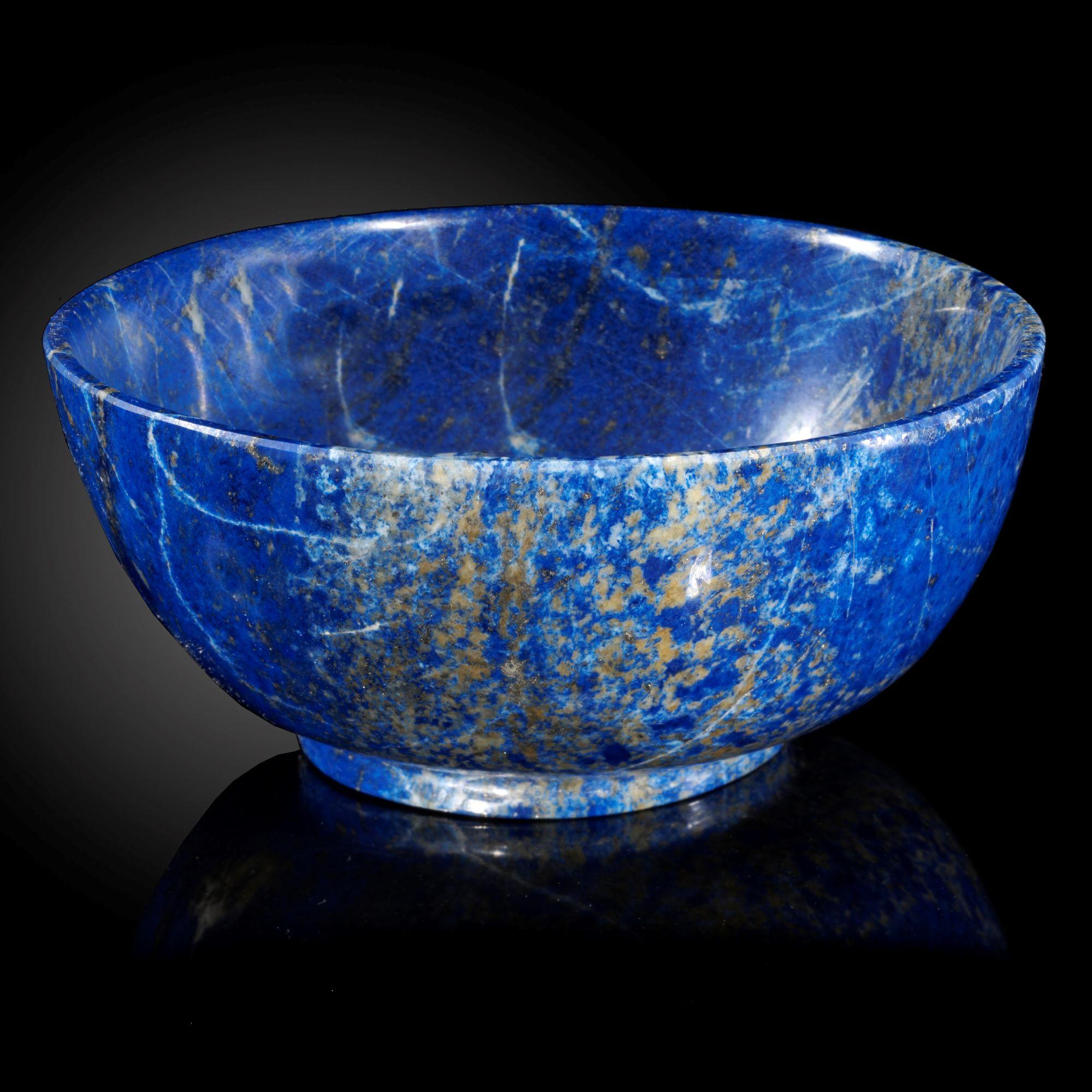 Lot 19 - Interior Design/Minerals: A Madani quality Lapis lazuli bowl, in presentation box, 12.5cm
