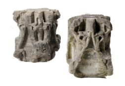 Architectural stone: A pair of rare medieval gothic carved stone crocheted spire sections, 13th