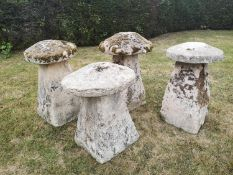 Staddlestones: An unusually large and rare harlequin set of carved Cotswold stone staddlestones, the