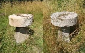 Garden Tables/Furniture: A pair of carved stone tables with millstone tops on staddlestone bases,