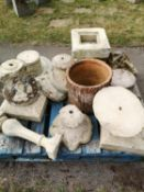 Architectural stone: A collection of carved stone and serpentine marble urn and rockery fragments,