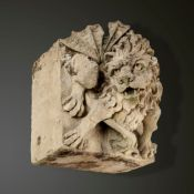 Garden statues: A rare and fine carved Cotswold stone gargoyle lion, signed and dated H. Blazer 1833