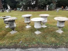 Garden pots/planters: A harlequin set of six carved white marble campana urns, 18th and 19th