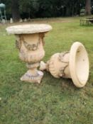 Garden planters/pots: A fragmentary pair of substantial Blashfield terracotta urns, circa 1870,