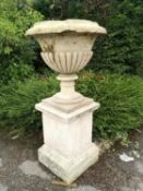 Garden pots/planters: A pair of substantial carved Cotswold stone urns, 18th century, 158cm