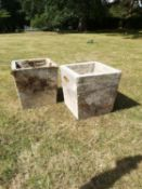 Garden pots/urns: An unusual pair of carved stone square tapering planters, late 19th century,