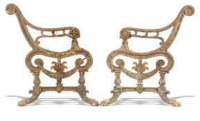 Garden Seats/Furniture: A pair of Carron foundry cast iron seat terminals, Scottish, late 19th