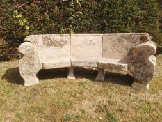 Garden Seats: A rare Cotswold curved stone seat, early 20th century, 247cm wideThe Cotswold