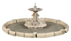 Fountains: An extremely rare courtyard fountain attributed to Blashfield, circa 1870, the surround