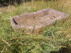 Troughs/Planters: A carved sandstone corner trough, 28cm high by 140cm long by 80cm deepThe Cotswold
