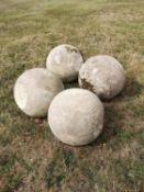 Gate piers: A set of four carved Cotswold stone gate pier balls, 33cm diameterThe Cotswold